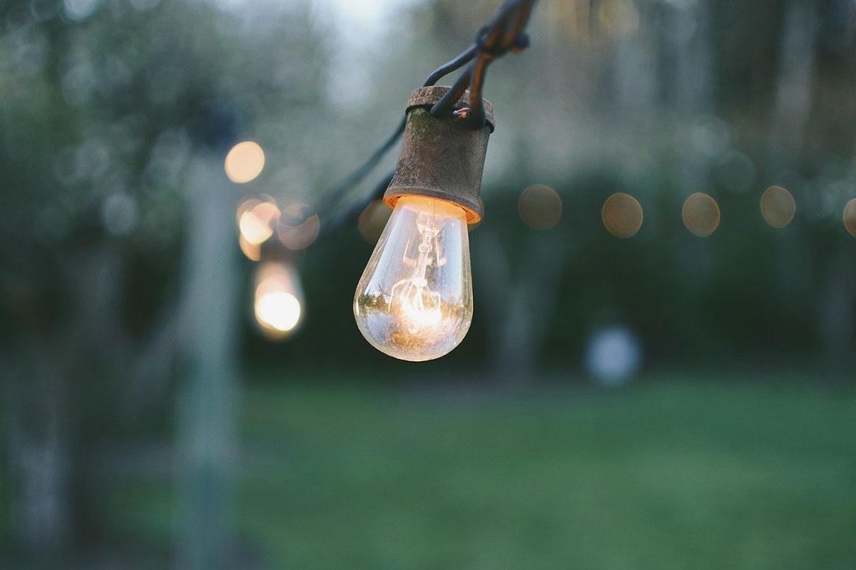 String lights lighting up the yard