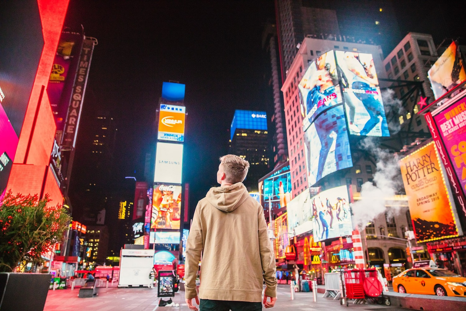 Boy looking at Times Square