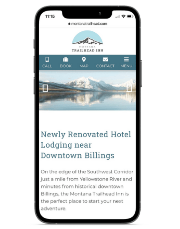 hotel website on cell phone screen